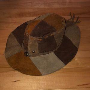 Vintage Leather Patchwork Hat
